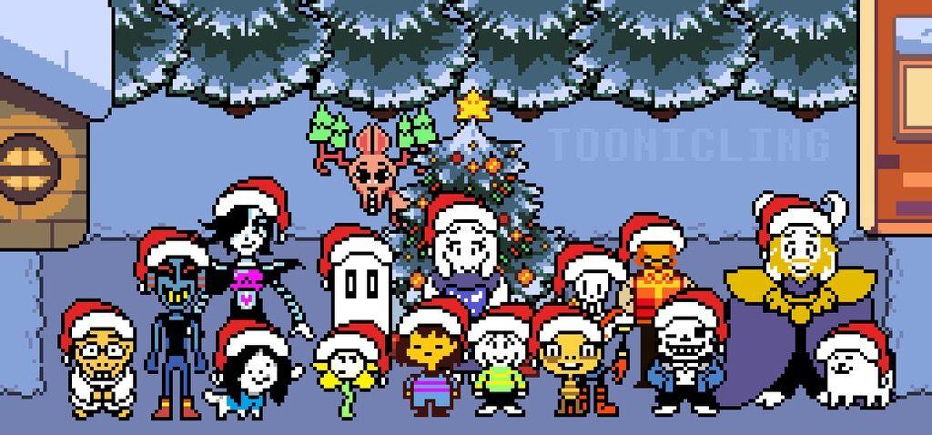 Undertale Christmas.Undertale Christmas Undertale Asriel Frisk Flowey Napst