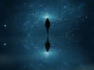 surreal universe night stars blue