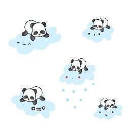 freetoedit clouds pandas kawaiifaces emotions