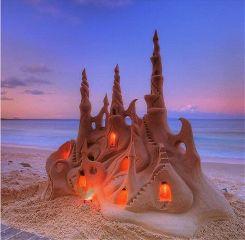 beach sunset sandcastle sandart freetoedit